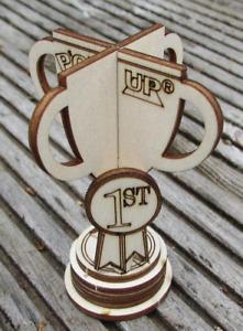 Trophy Wooden Card Pop Up 3D 1st Place Prize Cup Winner Keepsake Awards Sports