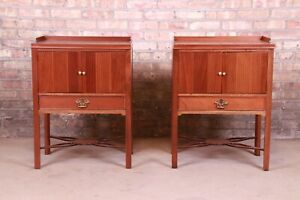 Baker Furniture Chippendale Carved Mahogany Nightstands