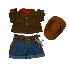 """Teddy Bear Cowboy Outfit w/ Brown Hat Clothes Fit 8""""-10"""" Build-a-bear !New!"""