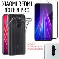 Coque Silicone + Verre Ecran + Verre Caméra pour Xiaomi REDMI NOTE 8 PRO