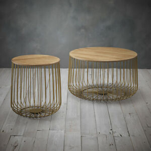 Gold Metal Set of 2 Cage Tables - Coffee / Side Lamp Table Modern Oak Style Enzo