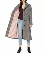 Kate Spade New York M NWT Women's Glen Plaid Coat, MSRP $438 Medium  Grey Pink