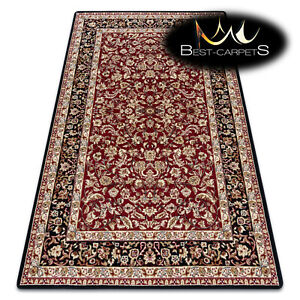 """TRADITIONAL Thick & Soft Classic RUGS """"ROYAL"""" Frame Ornament black / dark red"""