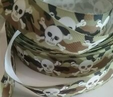 1m grosgrain ribbon 22mm skull & crossbones khaki green background goth ghost