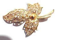 Vintage Brooch Aluminium Gold Tone Metal Leaf Shaped Beautiful Pins Brooches