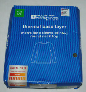 Mens Large Long Sleeve Thermal Top T-Shirt Mountain Warehouse Talus NEW RRP £20