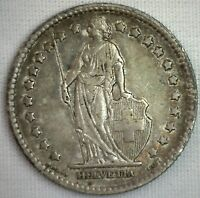1880 B Silver Switzerland Swiss Helvetia Franc Rare Coin Almost UNCIRCULATED AU