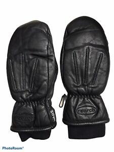 REUSCH Leather Mittens Ski Gloves Thinsulate-Lined Sz Medium Womens Snow BLK