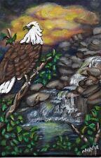 OSWOA 4x6in Orginal paint Acrylic Eagle Bird Sunset  River Landscape Nova Hart