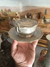 Antique Islamic Arabic Persian Solid Silver Suger Bowl And Plait Or Dish Signed