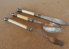 Antique Victorian Fancy Silver plated Pickle Fork And Spoon Set