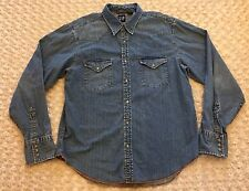 Gap Blue Denim Women's Shirt Top Western Pearl Snap Buttons Size Large