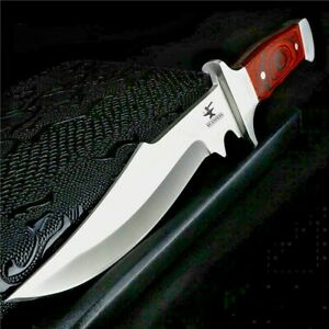 Clip Point Knife Fixed Blade Hunting Tactical Combat Wild Military Wood Handle S