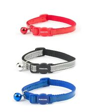 Ancol Gloss Reflective Safety Release Cat Collar  in Red , Blue and Silver
