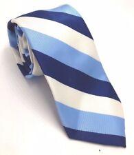 $95 NICK GRAHAM Men WHITE BLUE STRIPE DRESS NECK TIE SKINNY CLASSIC NECKTIE 58X3
