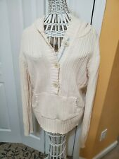 Womens Old Navy Ivory 1/2 Button Front Cable Knit Front Pocket Large Sweater