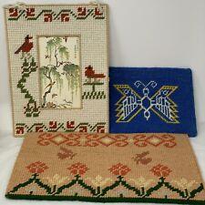 Vintage Handmade Plastic Canvas Needlepoint Butterfly Flowers Birds 3 Piece Lot