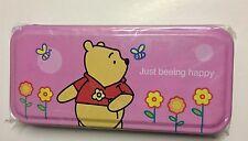 Winnie The Pooh & Tigger Pencil Tin Case Pink Girl Disney Metal Kids School