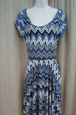 Love Fire Clothing Juniors Dress Sz L Blue Multi Zig Zig Print Open Back Casual