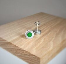 Silver Hex Nut Stud Earrings With Apple Green Pearl Acrylic Inlay ~ Handmade