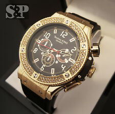 Men's Iced Out Bling Hip Hop Techno King GOLD PT Urban Style Rubber Band Watch