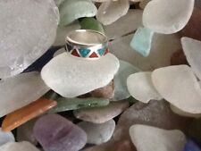 Silver Inlay Turquoise & Coral Ring *Size 6*