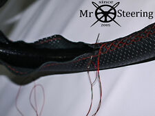 FOR PEUGEOT 205 83-98 PERFORATED LEATHER STEERING WHEEL COVER DARK RED DOUBLE ST