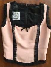 Cheap And Chic By Moschino Corset Bustier Pink Black Ruffle Bow Vintage Rare