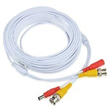 65ft BNC Video Power Cable Wire Cord w Connector for CCTV Security Camera White