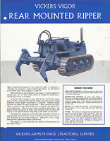 VINTAGE AD SHEET #2945 - VICKERS VIGOR REAR MOUNTED LOGGING RIPPER