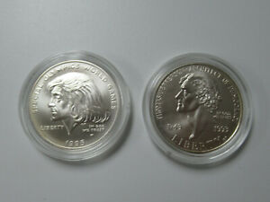 US 1995 Olympics & 1993 T. Jefferson Commemorative UNC SILVER DOLLARS in CAPSULE
