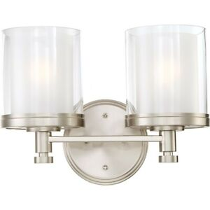 Nuvo Decker 2 Light Vanity Fixture w/ Clear & Frosted Glass - 60-4642