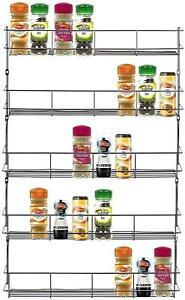 4 5 6 Tier Spice Rack Herb Jar Holder Kitchen Cupboard Wall Mountable