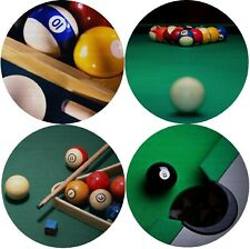 Billiards Pool 8-Ball Cue Drink Coasters Polyester Top Rubber Bottom Set of 4
