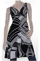 CKM Black Cream Abstract Dress Tunic Top Blouse Stripe Size 8 10 12 14 16 Women