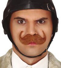 Mens Brown Fake False Moustache British Englishman Fancy Dress Costume Outfit