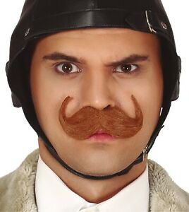 Mens Brown Fake False Moustache British Englishman Fancy Dress Costume Outfit
