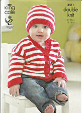 """KING COLE 3511 EASY KNIT BABY DOUBLE KNITTING PATTERN, CARDIGANS & HAT 12"""" - 20"""""""