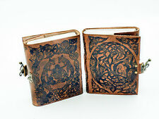 Refillable Celtic Foxes premium artisan crafted leather journal by Jen Delyth