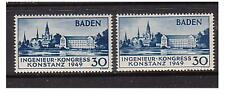 Germany - SG FB 46/46a - l/m - 1949 Engineers Congress 1st & 2nd printing(Baden)