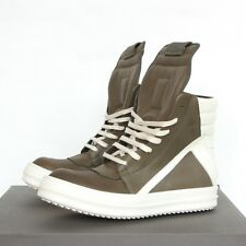 e165c53b63d208 Rick Owens Palm Green White Leather Shoes Geobasket Hi-top Dunks SNEAKERS 39