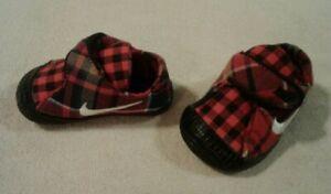 Nike Waffle 1 PRM red & black plaid pattern (CBV) baby shoes size 3c - NIB