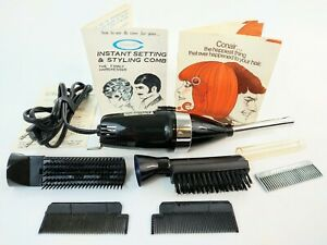 Vintage Conair Continental Hot Styling Hair Dryer Comb Brush Set Instant Setting
