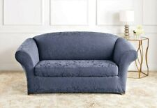 Stretch Jacquard Damask Two Piece Loveseat Slipcover NEW