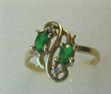 14 K Lady Ring 2 Green 2Clear Stones Yell. Solid Gold 17 mm Inside DIA Size 7