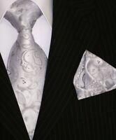 Binder de Luxe Designer Krawatte Einstecktuch Krawatten Set Tie 155 silber Tlg