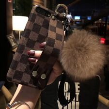 Luxury Plain Checker Leather Case Plush Hand Strap for iPhone 11 Pro XR XS MAX 8