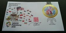 Malaysia 18th Asian Games 2018 Sport Flag Bicycle FDC (cc *gold *unusual *signed