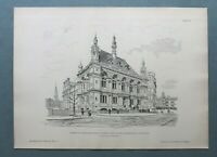 AR85) Architektur London 1885 School Themse Embankment Street Holzstich 28x39cm