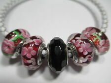 5 Pandora Silver 925 Ale Fascinating Blue Red Flower Daisy Rose Glass Bead Charm